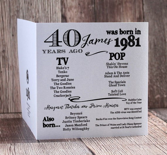 1981 birthday, 40 years ago card, Year you were born. 40th Birthday card, fun facts about 1981,  personalised typography card
