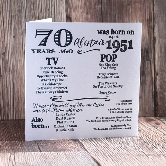 1951 birthday, 70 years ago card, Year you were born. 70th Birthday card, fun facts about 1951,  personalised typography card