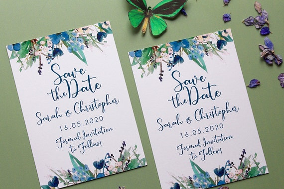 Save the dates, Wedding date cards, Maximalism bright florals, blue flowers