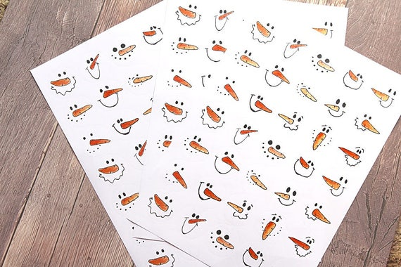Snowmen stickers, christmas snowmen labels for letters, cards and festive gifts