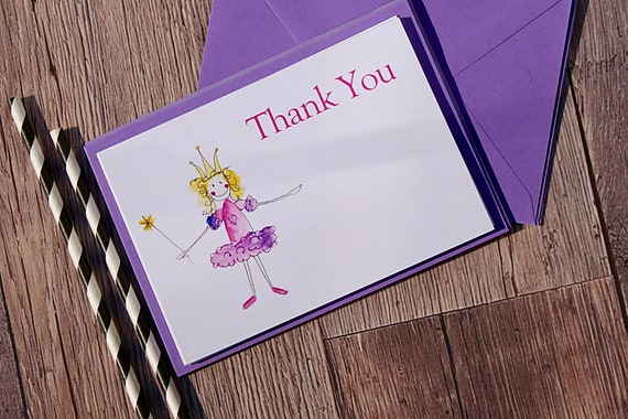 Princess Fairy Party Invitations, Childrens Birthday Invitations, Fairy Princess Party, Notelets, Printed cards, pack of 10
