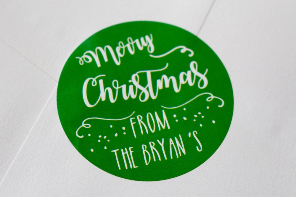 Personalised Christmas Stickers, Family name stickers, From the ...