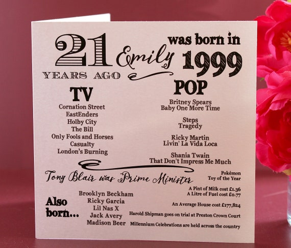 2000 birthday, 21 years ago card, Year you were born. 21st Birthday card, fun facts about 2000,  personalised typography card