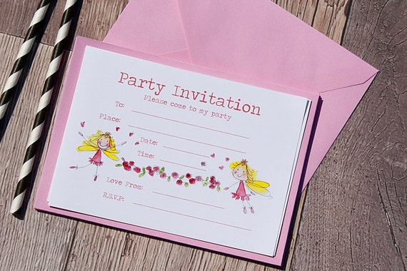 Fairy Princess Party Invitations, pink Birthday invitations, birthday party, Girls party invitations, Princess party, pink invitations