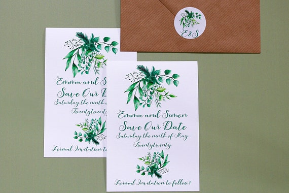 Save The Date Card, Floral Wedding Date Card, Foliage and Flowers