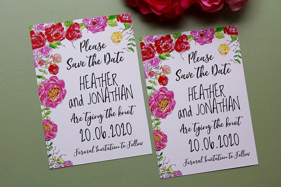 Save the dates, Wedding date cards, Maximalism bright florals, Pink flowers