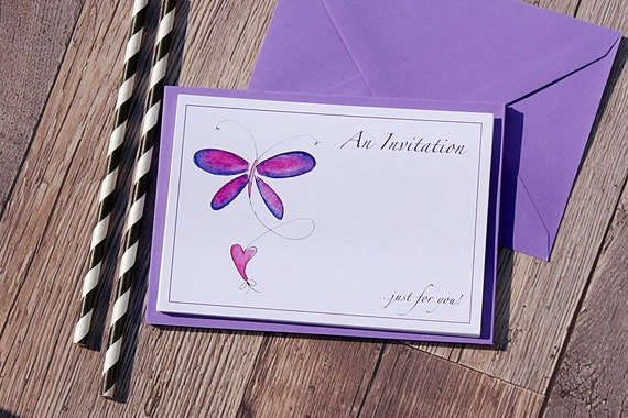 Purple butterfly Party Invitations, Pack of 10 cards, Invitations, Party Invitations, At Home cards, Printed cards