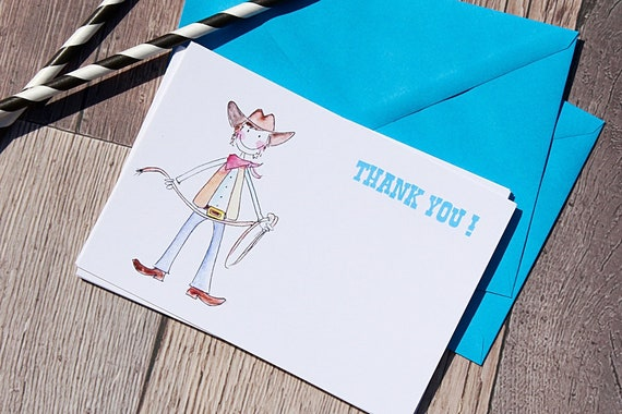 Thank You cards, Thank you cards for boys, Cowboy thank you cards, party thank you cards, Childrens Invitations, Boys Birthday Party, Cards