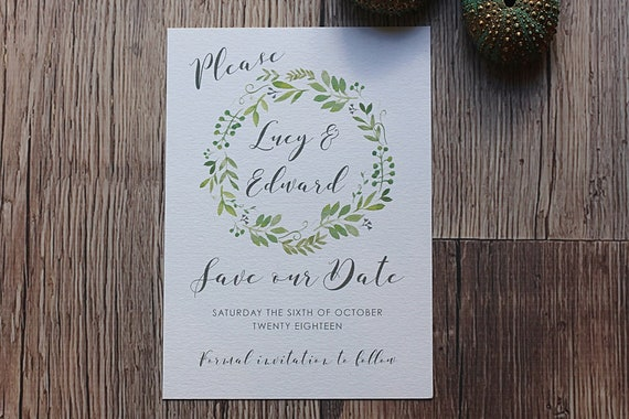 Save the date cards, A6 Wedding Invitations, wedding stationery, rustic foliage wreath, wedding cards, custom save the dates, wedding day
