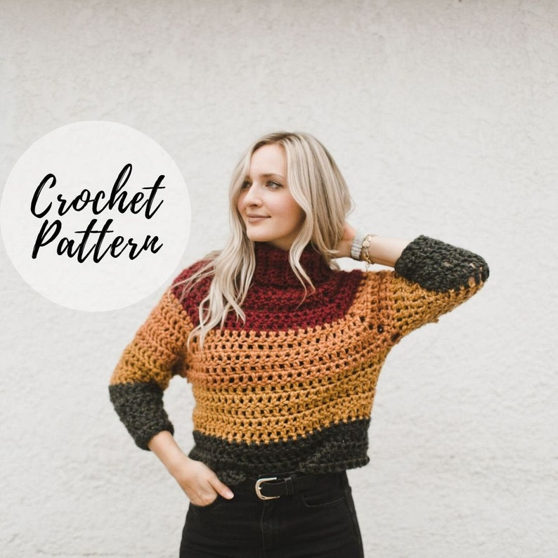 Autumn Stripes Raglan x Crochet Pattern image 0