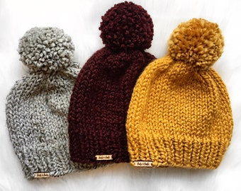 Solid Colour Toque with Pom Pom