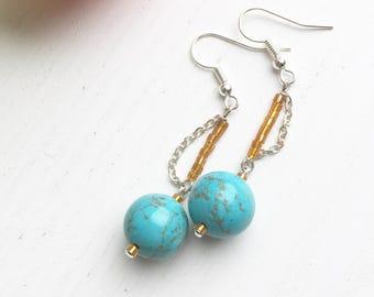 Turquoise Earrings, Boho Earrings, Gift For Her, Clip On Earrings, Summer Jewelry, Turquoise Jewelry, December Birthstone, Statement Jewelry