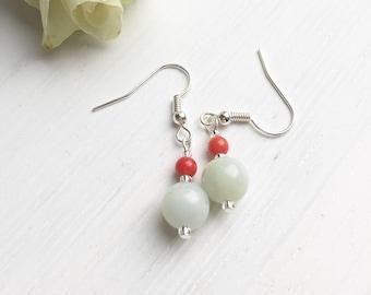 Amazonite Earrings, Amazonite Jewelry, Coral Earrings, Seafoam Green, Gemstone Jewelry, Clip On Earrings, Gift For Her, Colourful Earrings