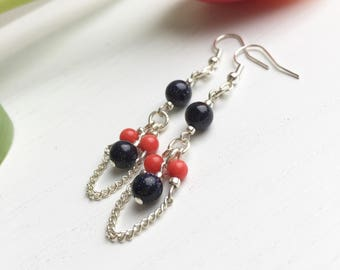 Midnight Blue Earrings, Goldstone Earrings, Sandstone Earrings, Coral Earrings, Clip On Earrings, Gift For Her, Rock Chick Jewelry, UK Shop