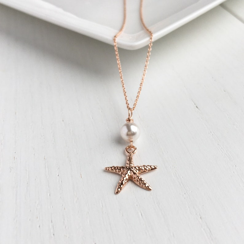 Mothers Day Gift Necklace Starfish Pearl
