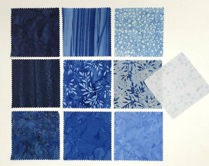 Charm pack Azure colour 40 pieces precut quilt fabric Batik bundle of 5 squares