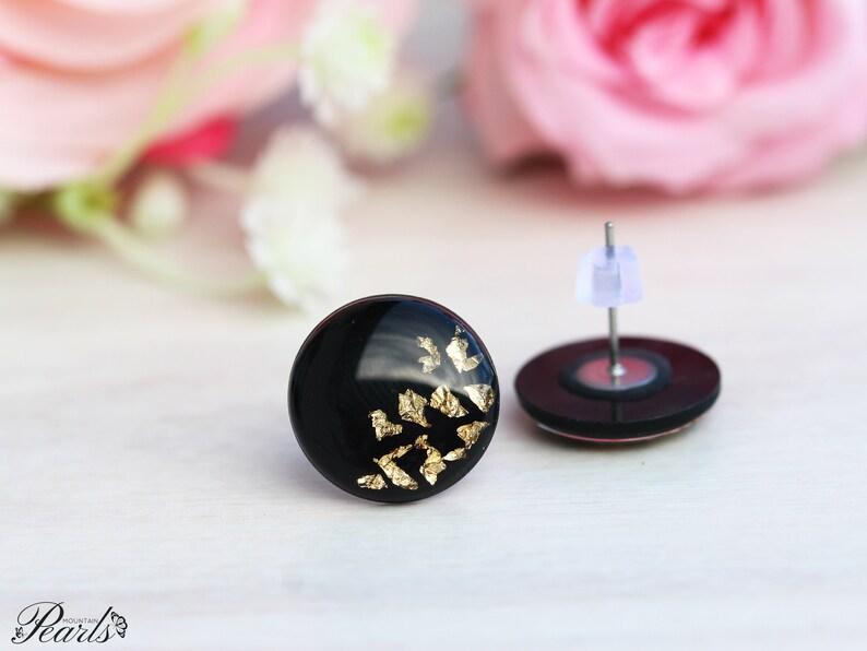 Titanium earrings Modern earrings Black gold earrings Gift women Earrings for sensitive ears Simple stud earrings Minimalist earrings