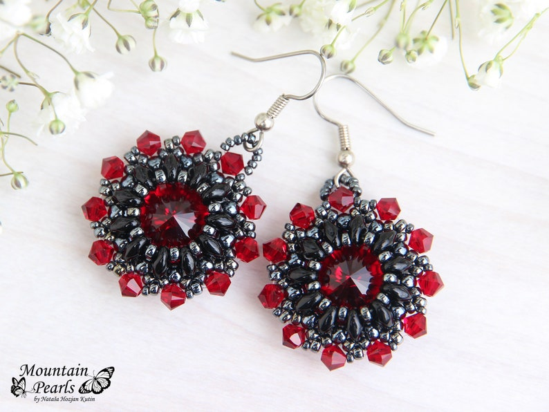 Women gift ideas Gift for sister Birthday gift for women Girlfriend gift Gift for mom Dark red earrings Best gift Unique jewelry