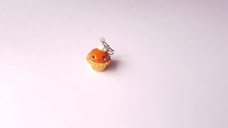 dollhouse Fall jewelry miniature food Kawaii Pumpkin Pie Cupcake Charm clay charm