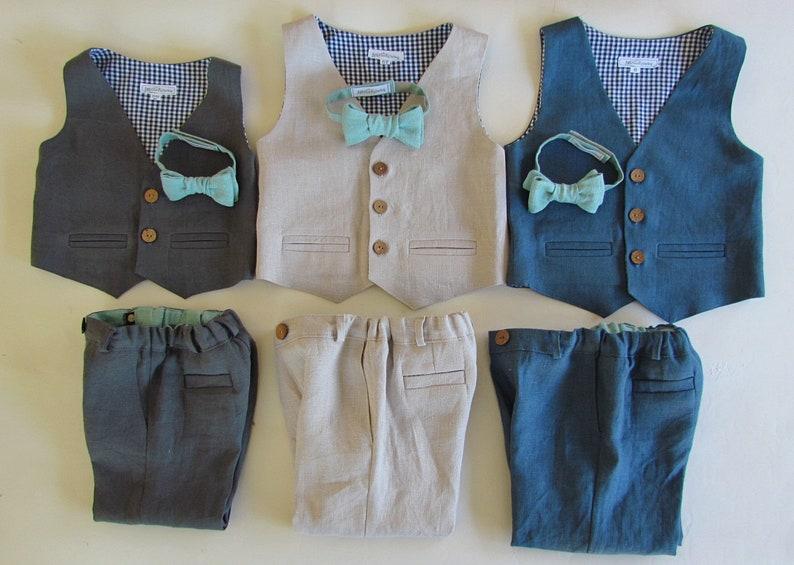 Boys Linen Suit  100% Linen Baby Suit  Toddler Suit  image 0