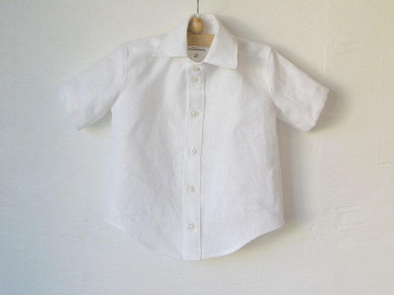 Boys Linen White Shirt White Dress Shirt Formal Collar or Tunic Collar