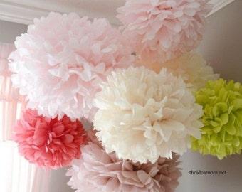 "Pompoms 15 x-large (19""- 10"")  tissue paper Pompoms/ christmas decorations/noel/  baby shower/wedding/birthday/engagement/bridal shower/ DIY"