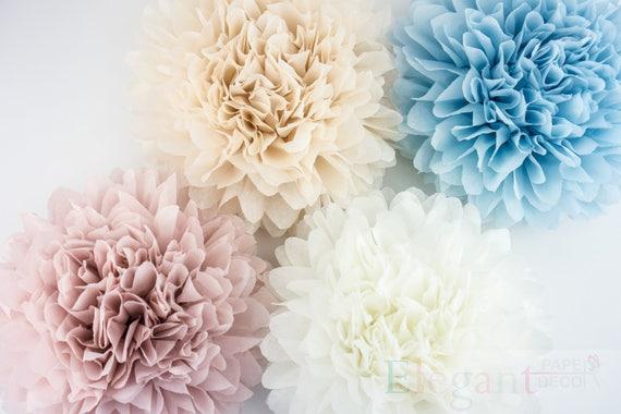 Neutral theme poms paper flower flower balls wedding decoration il570xn mightylinksfo