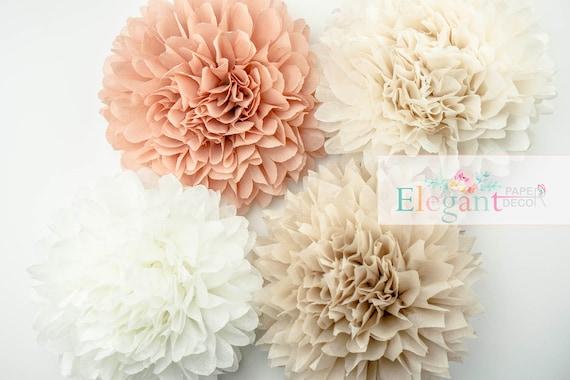 Neutral Theme Poms Paper Flower Flower Balls Wedding Etsy