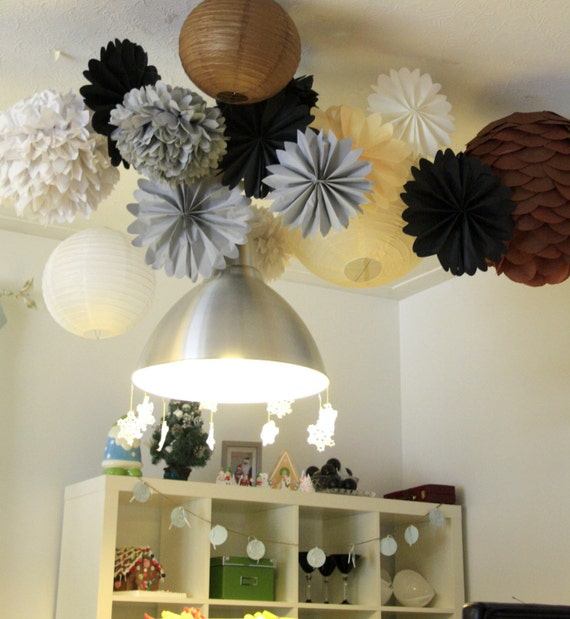 Set Of 12 Pompomslarge Paper Pompom Tissue Paper Flower Balls