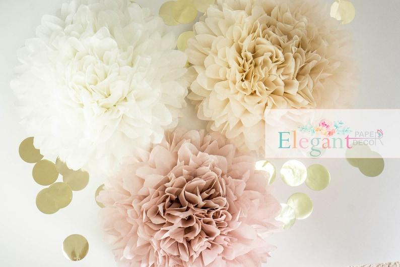Dusty Pink Poms Paper Flower Flower Balls Wedding Etsy
