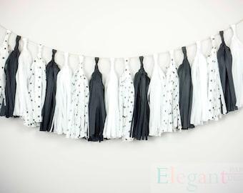 ASSEMBLED Tassel Garland Kit - Black and white/ Wedding Shower/ anniversary/  Tissue Paper Tassle Decor Balloon Tails