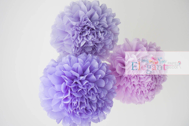 Lavender Poms Paper Flower Flower Balls Wedding Decoration Etsy