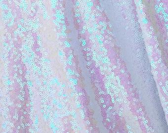 White Iridescent Sequins Fabric, Glitters Full Sequins Fabric for Dress, Full Sequins on Mesh Fabric, White Iridescent Sequins Fabric