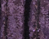 Eggplant Sequins, Deep Purple Sequin Fabric, Royal Purple Full Sequin on Mesh Fabric, Plum sequins by the Yard
