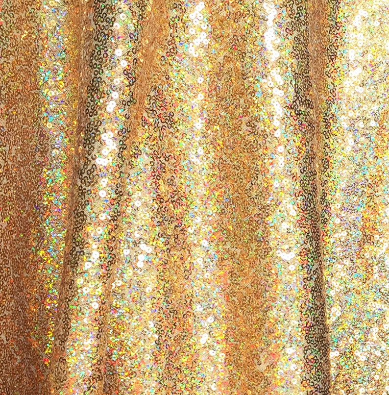 52afaaf5 Gold Iridescent Sequin Fabric Glitters Sequins for Dress | Etsy