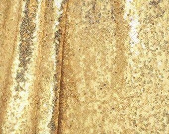 Light Gold Sequin Fabric, Glitters Full Sequins, Light Gold Sequin on Mesh Fabric, Party Dress, Table Deco Sequins Fabric Sold by Yard