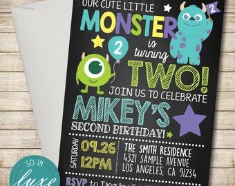 Monsters Inc Birthday Party Invitation, balloon, star, cute birthday invitation, cartoon, university, chalkboard, disney, printable RT017