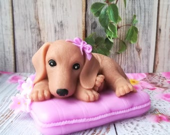 Dachshund On Pillow Mold Doggie Mold Dachshund Mold Dachshund Puppy Mold Pretty Doggie Mold Silicone Mold Dachshund