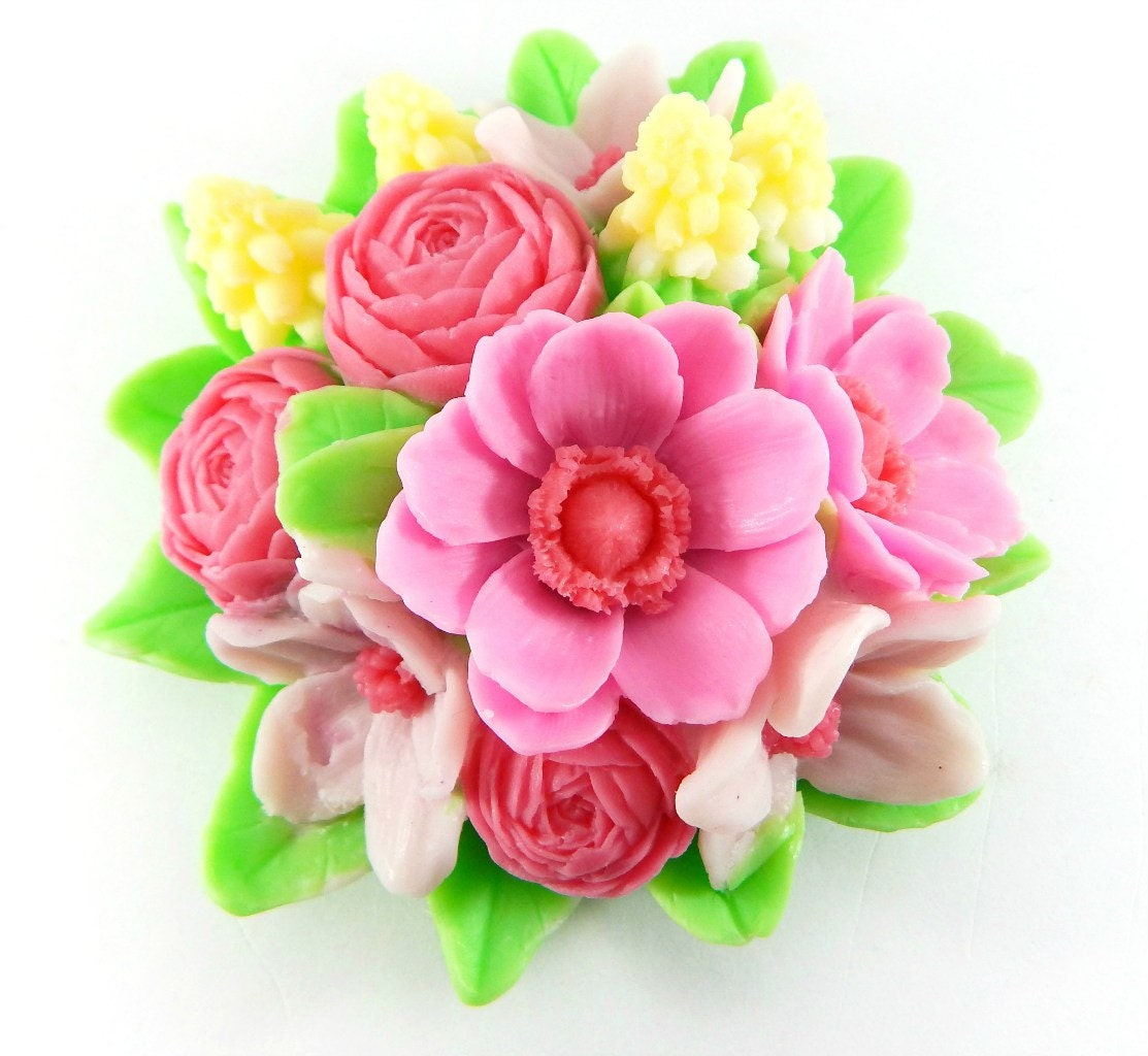 Mold Bouquet Of Spring Flowers Amazing Flowers In Bouquet Etsy