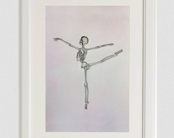 Ballerina Skeleton Original Watercolor Painting: Dancer Gift