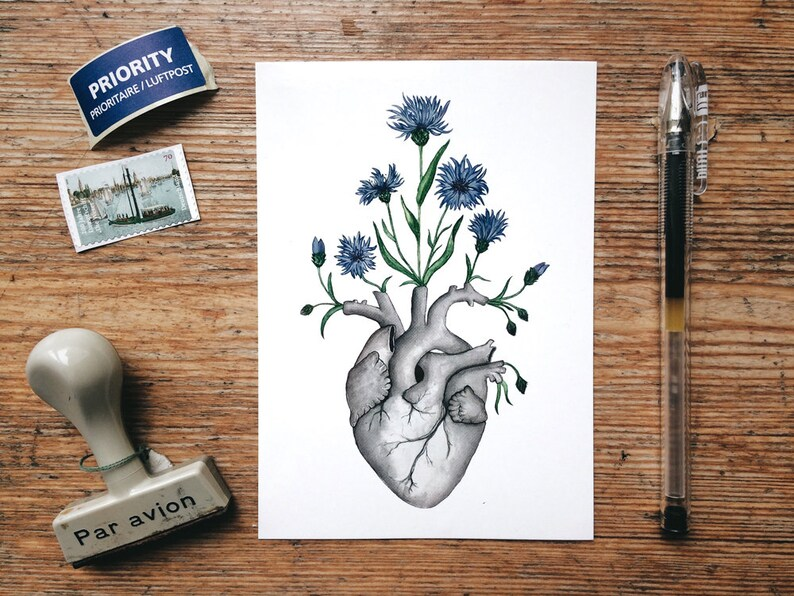 Illustrated Card Skeleton Flower Nature for Friend Love Goth Anatomy Art Gift Blue Cornflower Floral Heart Postcard