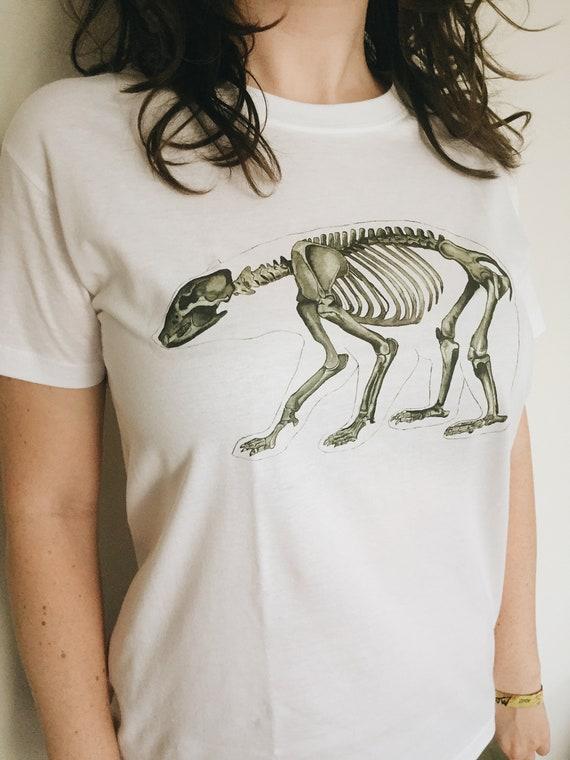 Unisex Bear Skeleton Anatomy Tshirt L Size Animal Artwork Etsy