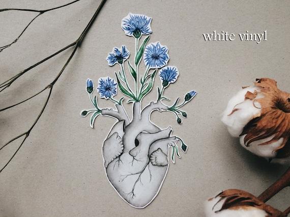Kornblume-Herz-Aufkleber Blume Blumen menschlichen Anatomie   Etsy