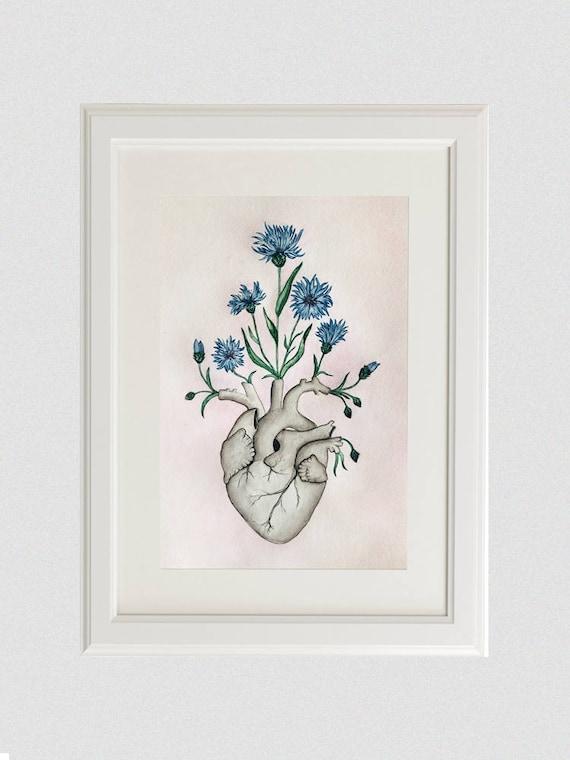 Florale Herz Anatomie Malerei Einzigartige Liebesgeschenk | Etsy