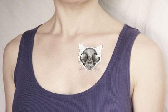 Katze Schädel temporäre Flash-Tattoo Anatomie Skelett Tier