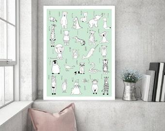 Alphabet Animal Printable Nursery Art,Alphabet Decor,ABC Decor,ABC Children Nursery,Scandinavian Decor ABC,Abc Baby Art,Animal Alphabet Art