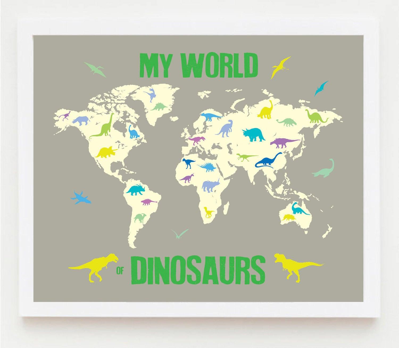 Mapa de niños imprimibles infantiles niño dinosaurio pared | Etsy