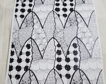 Hand Drawn Adult Coloring Page - Pattern Tessellation - Instant Printable Download - Zentangle Inspired