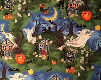 Fabric Art Scary Night-Illustrated by Laurie Godin Home Decor-Pillow-Iron Wall Hanging 100% Quality Cotton  by the Yard