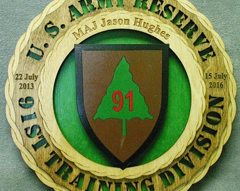Custom 12 Wood US Army 91st Training Division Wall Tribute